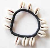 Unisex black marine corded adjustable Genuine Cowrie bracelet