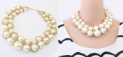 Hitece@Noble Golden Chain Twine White Big Pearl Choker Collar Party Bib Fancy Necklace