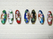 50 New 6x17mm Drop Mix Filigree Cloisonne Beads
