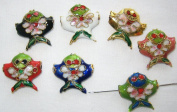 50 18x18mm Mixed Handmade Fish Cloisonne Beads