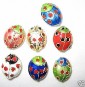 80 12x16mm Handmade Ladybug Mix Cloisonne Beads