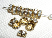 20. Rondelle Spacer Beads 8mm Gold/Crystal