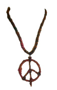 PE-03 Recycle Silk Necklace Peace Pendant Nepal 37cm long