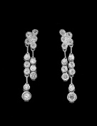 18K White Gold Rhodium Custom Made CZ Earrings - GY9E