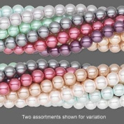 Glass pearl made assorted colours 8mm round Bead assortment. Sold per pkg of ten 30-inch strands.