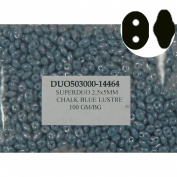 SuperDuo Blue Lustre 2.5x5mm 2 Hole Beads Czech Glass Seed Beads 100 Gramme Bag