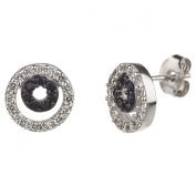 New Sterling Silver Black & White Cz Stud Earrings