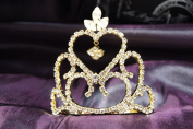 Princess Bridal Wedding Tiara Gold Crown with Clear Crystal DH14071