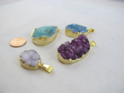 Agate Pendant Natural Druzy Agate with Gold Bezel One Hooks Set of 3 Mixed Shape Mixed Colour
