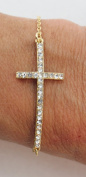 eli k GOLD PLATE & CLEAR CRYSTALS ARCHED SIDEWAYS CROSS PETITE CHAIN BRACELET