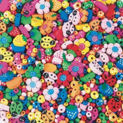 Painted Wooden Bead Mix 1/2-lb Bag