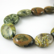 Gemstone Beads - Smooth Oval Jasper - 15x12mm