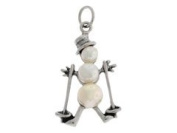 Sterling Silver and Pearl Skiing Snowman Charm