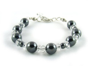 BA8351F Hematite Clear Quartz Natural Crystal Bead Findings Bracelet