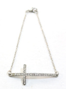 eli k SILVER PLATE & CLEAR CRYSTALS ARCHED SIDEWAYS CROSS PETITE CHAIN BRACELET