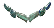 Chrysocolla Carved Swirl 6 Beads Set 20mm-43mm