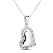 New 925 Sterling Silver Heart Filled Heart Cz Pendant with 46cm Chain