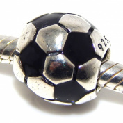 ".925 Sterling Silver ""Soccer Ball"" Charm for Snake Chain Charm Bracelets"