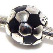 """.925 Sterling Silver """"Soccer Ball"""" Charm for Snake Chain Charm Bracelets"""