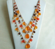 Orange Three Strands Beads Necklace with Extension
