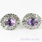 Beautiful Sterling Silver Pave Amethyst Studs - Oval 7x5mm Amethyst - 4 Prong Setting