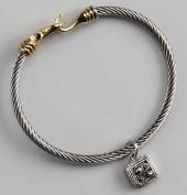 Regal Jewellery Womens Silver Square Gem Charm Bracelet Gift