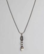Regal Jewellery White Drop Pendant Silver Necklace
