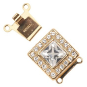 23K Gold Plated 2-Strand Box Clasp - Square With 21. ELEMENTS 14x14mm