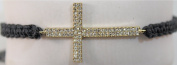 eli k GOLD PLATE & CRYSTALS SIDEWAYS CROSS PULL BLACK BRACELET adjusts