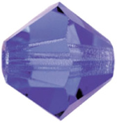 Mode Beads Preciosa Crystal Bicones Beads, Deep Tanzanite, 1 Gross Package