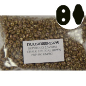 SuperDuo Senegal Brown Prpl 2.5x5mm 2 Hole Beads Czech Glass Seed Beads 100 Gramme Bag