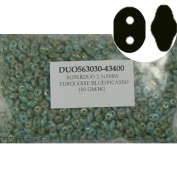 SuperDuo Turquoise Blue Picasso 2.5x5mm 2 Hole Beads Czech Glass Seed Beads 100 Gramme Bag