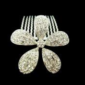 Fashion Flower Candy Hair Comb Wedding Hair Bow Pin Czech Crystal