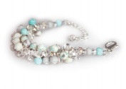 Viva Beads White Sand Bracelet   Crystal Cluster   - Handmade Clay Beads Jewellery 05405223