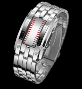 Mens Silver Metal Band Iron Style Wrist Watch Faceless Inspired Red Led-bkrd