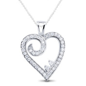 New 925 Sterling Silver Heart Cz Pendant with 46cm Chain