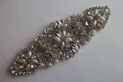 Small Crystal & Pearl Applique for DIY Sash