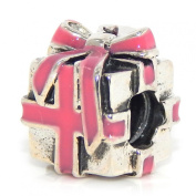 ".925 Sterling Silver ""Wrapped Present w/ Pink Ribbon"" Charm for Snake Chain Charm Bracelets"