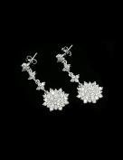 18K White Gold Rhodium Custom Made CZ Drop Earrings - ES4371E