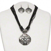 Necklace and earring, antiqued silver-finished pewter (tin-based alloy) with acrylic and epoxy, grey and black, 50mm fancy cross pendant on nylon cord, 16 inches with 2-inch steel extender chain and brass lobster claw clasp, 47x27mm earrings with fishh ..