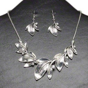 "Necklace and earring, Chinese rhinestone and antiqued silver-finished steel, brass and ""pewter"" (zinc-based alloy), clear, 37x24mm-54x38 graduated leaves, 17-inches with 3-inch extender chain and lobster claw clasp, 52x24mm earrings with fishhook earwire"