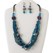 Necklace and earring, multi-strand, acrylic / glass / leather / gunmetal-finished steel / aluminium / brass, blue and purple, 60cm with 5.1cm extender chain and lobster claw clasp, 5.1cm - 0.6cm earrings with leverback earwire