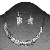 """Necklace and earring, multi-strand, waxed cotton and antiqued silver-finished steel and """"pewter"""" (zinc-based alloy), black, textured 3-segment, 16-inch round cord with 3-inch extender chain and lobster claw clasp, 44x16mm earrings with fishhook earwire"""