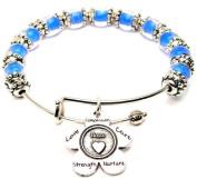 Niece Flower Cobalt Blue Glass Beaded Bangle Adjustable Bracelet