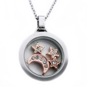 Stainless Steel Glass Pendant w/ Moon & Star