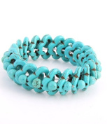 20mm Blue Turquoise Flower Stretch Bracelet