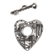 Green Girl Studios Antiqued Sterling Silver Heart & Key Toggle Clasp
