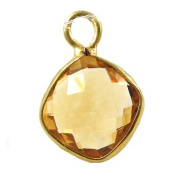 Citrine Faceted Square and Vermeil Pendant