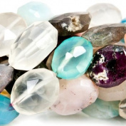 "Tropical Paradise Multi Gemstone Beads Faceted 9x9-12x9mm Ovals, 14"" length, 34 pieces"