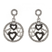 New Sterling 925 Silver Black & White Cz Hearts Earrings with Gift Box